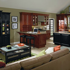 Open floor plan living room and kitchen with transitional cabinets