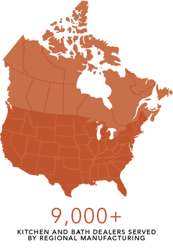 Graphic of 9000+ dealer locations in the United States and Canada