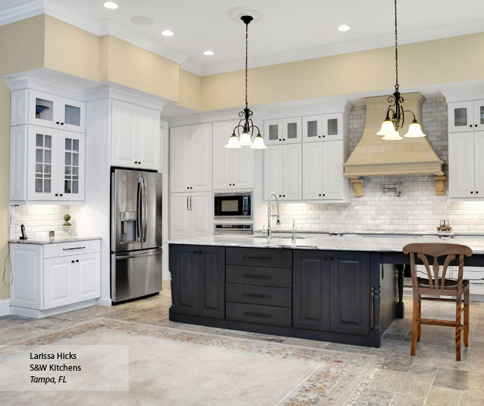 Traditional Small Kitchen Ideas White: Traditional Kitchen With White Cabinets And A Gray Island