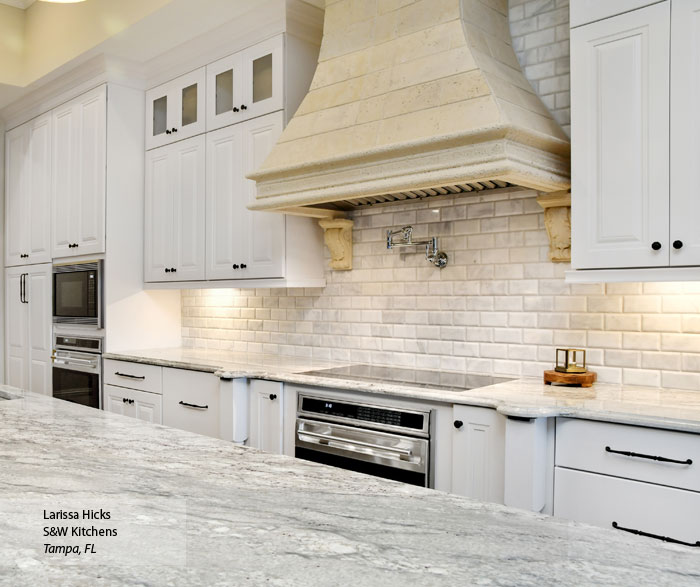 Traditional Kitchen with White Cabinets and a Gray Island ...
