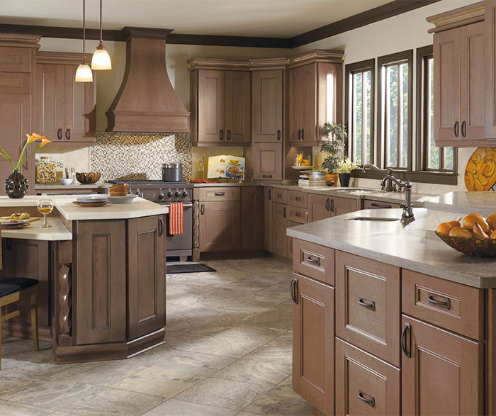 Cherry kitchen cabinets Two Tone Laroche Kitchen With Cherry Cabinets In Riverbed Finish Masterbrand Cabinets Kitchen With Cherry Cabinets Masterbrand