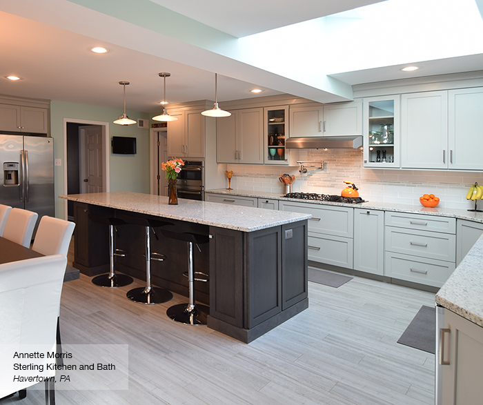 Light Grey Kitchen with Dark Grey Island Cabinets
