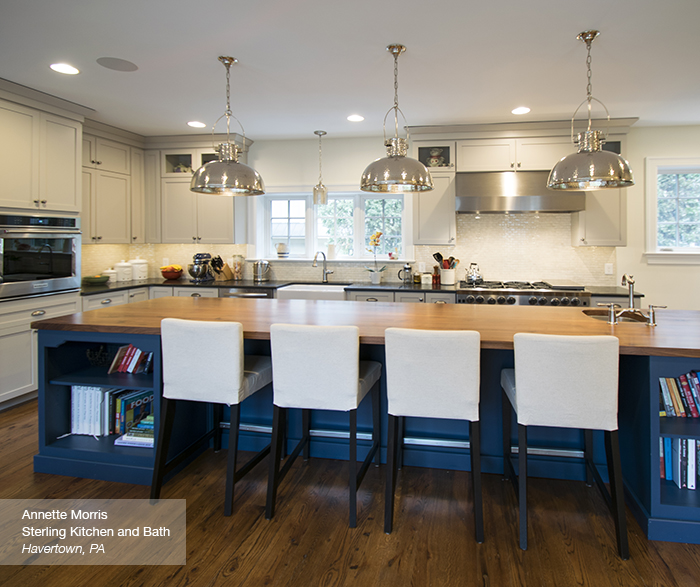 Puritan Off White Cabinets In Maple Magnolia With A Blue Kitchen Island Blue  Lagoon ...