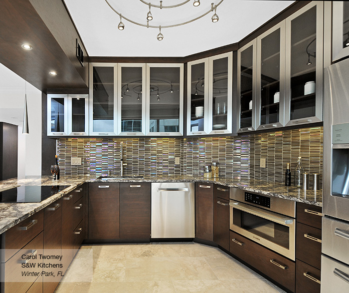 Contemporary Walnut Kitchen Cabinets - MasterBrand