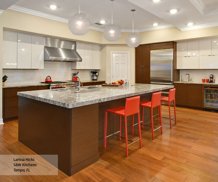 Wenge and High Gloss White Kitchen Cabinets