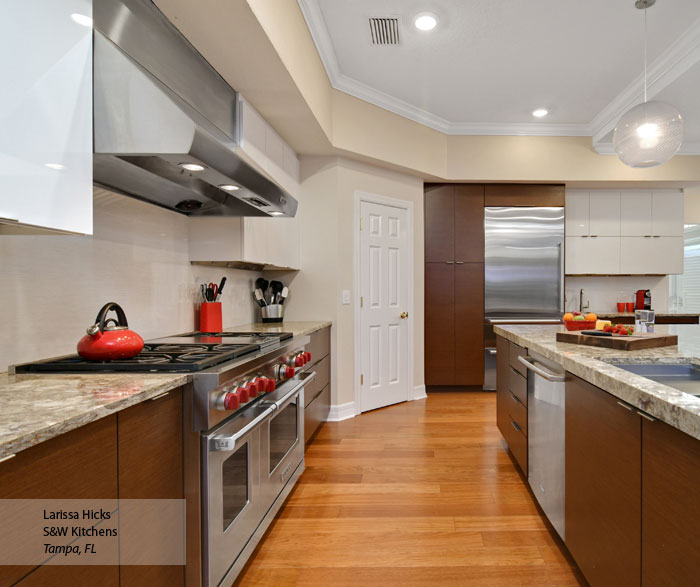 Gloss White Kitchen Cabinets: Wenge And High Gloss White Kitchen Cabinets
