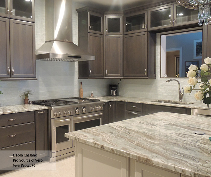 Gray Cabinets With An Off White Kitchen Island Masterbrand