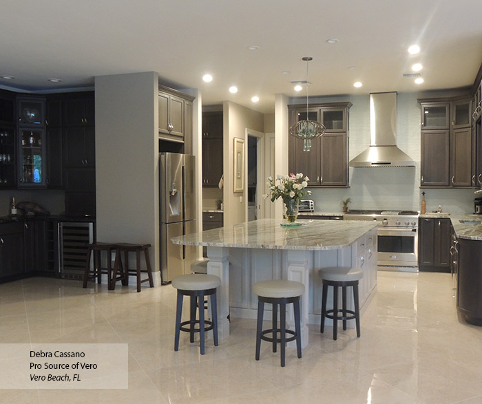 Gray Cabinets with an Off White Kitchen Island - MasterBrand