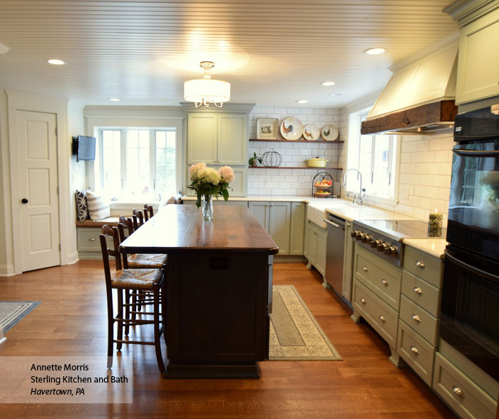 williamsburg farmhouse kitchen cabinets in maple rain and cherry smokey hills finishes - Farmhouse Kitchen Cabinets