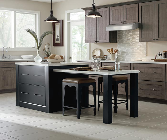 High Quality Herra Laminate Kitchen Cabinets In Elk With A Prestley Black Island ...