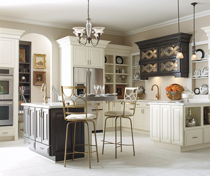 Parker off white kitchen cabinets with dark gray accents