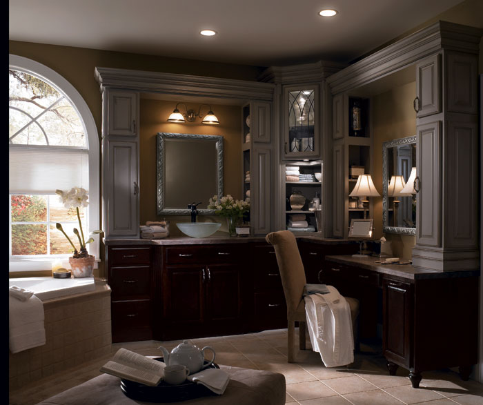 Dark Wood Bathroom Cabinets With Painted Accents