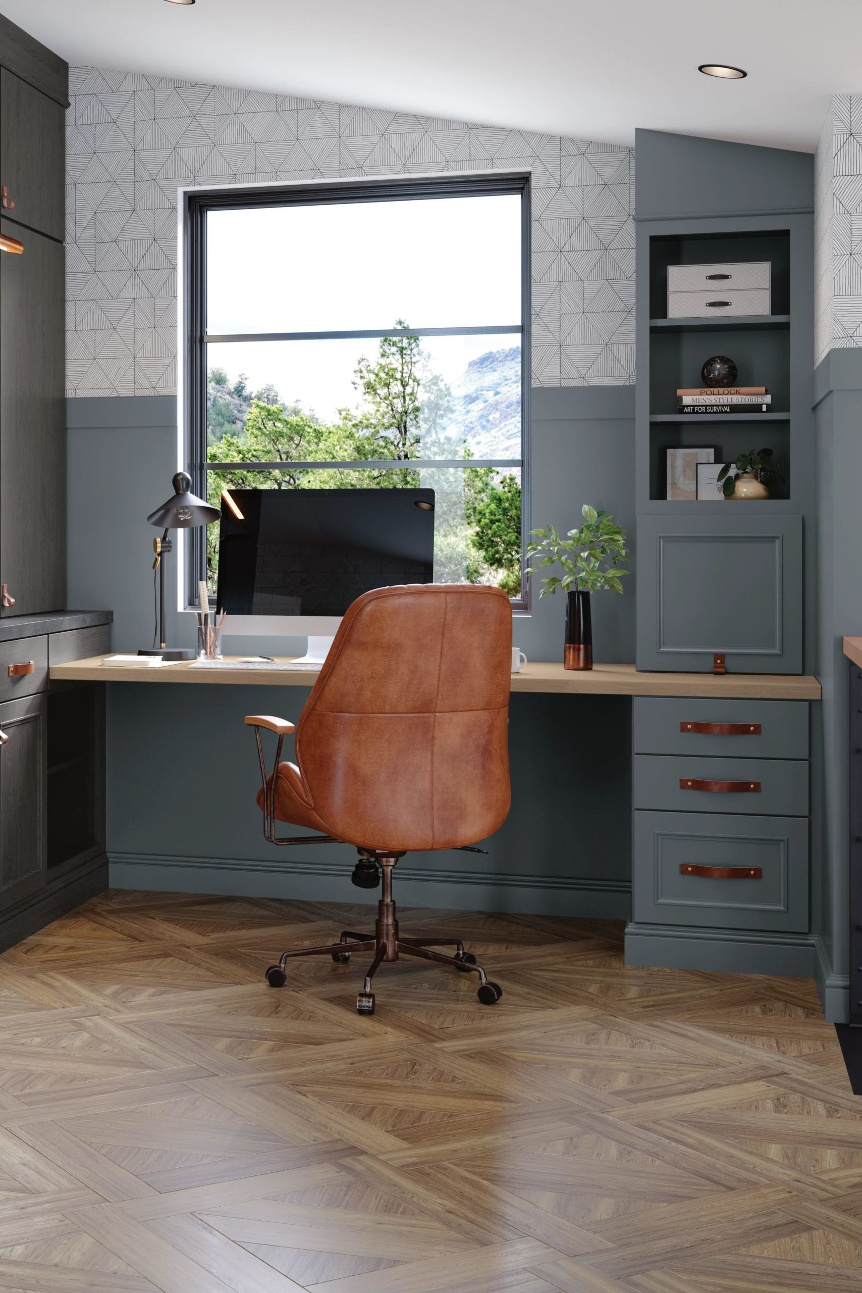Light Blue Office Cabinets - Grays Harbor Finish by Decora Cabinets