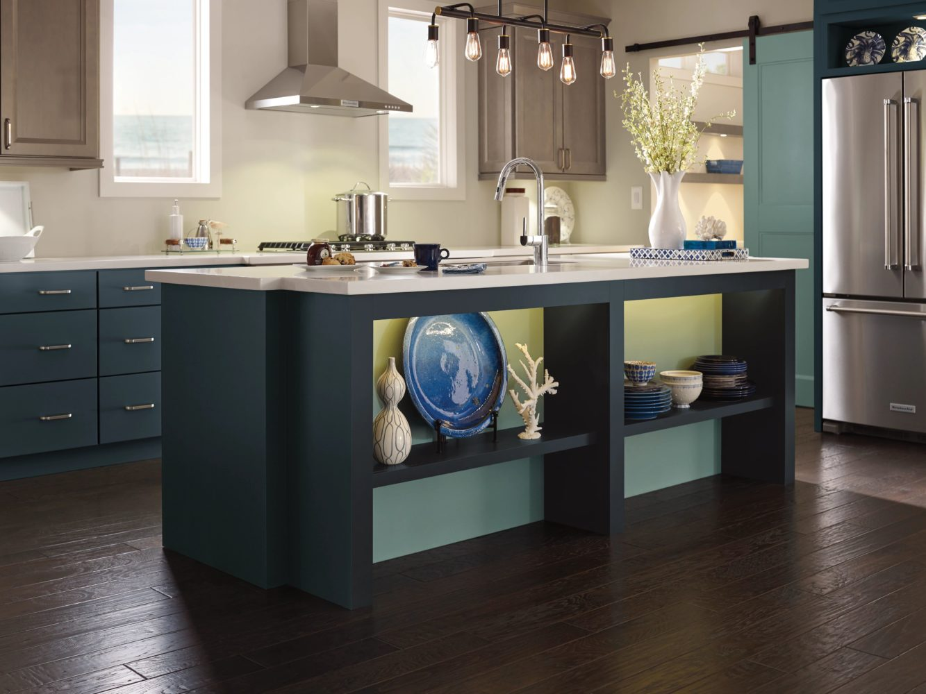 Blue Kitchen Cabinets by Diamond Cabinets in Maritime and Oasis Finishes