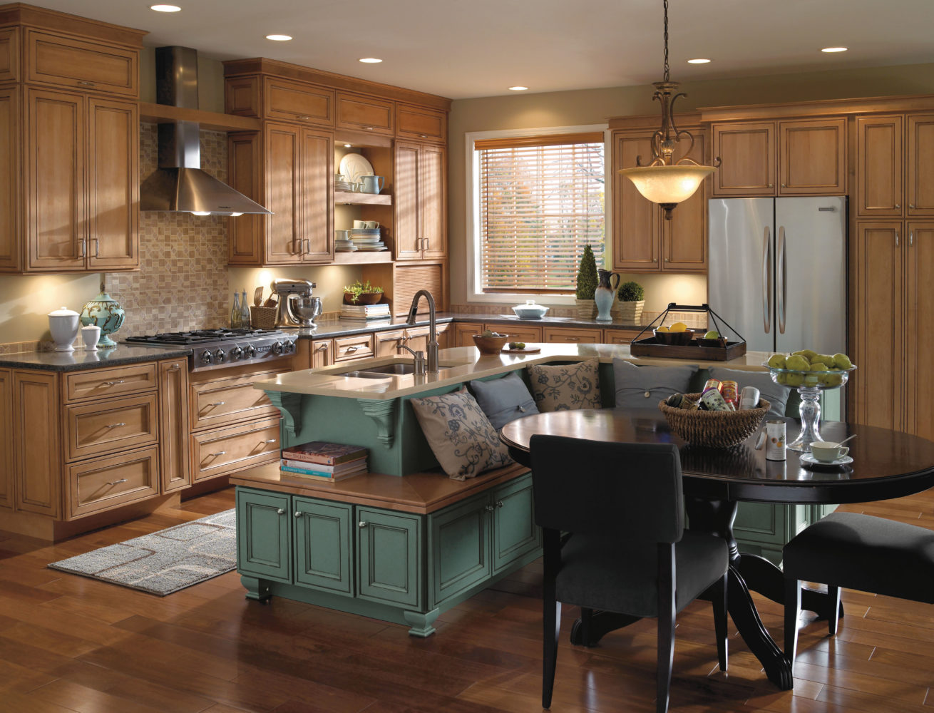 L-shaped kitchen island with bench seating.