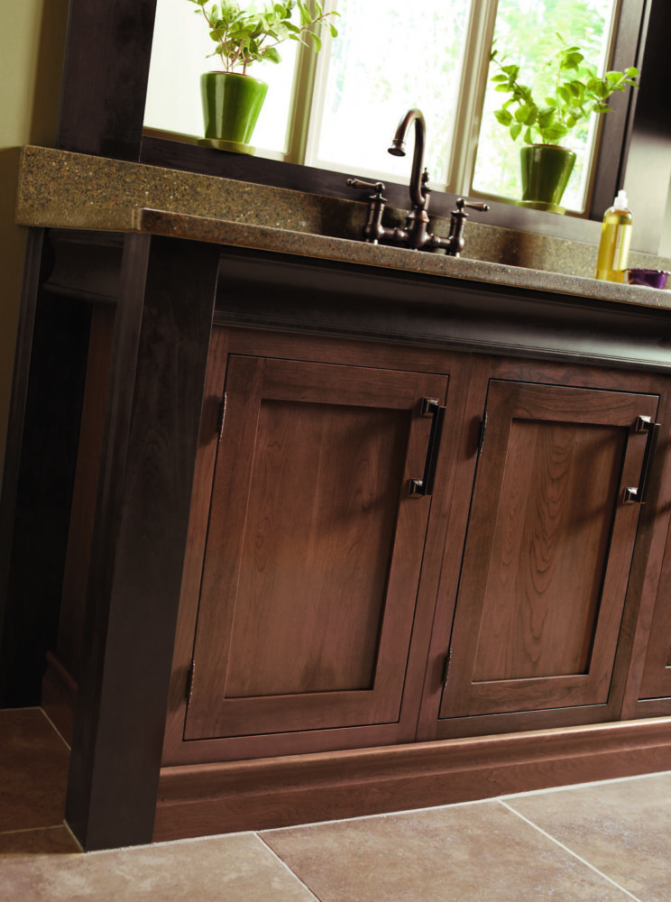 Barrel hinge shown with inset cabinetry
