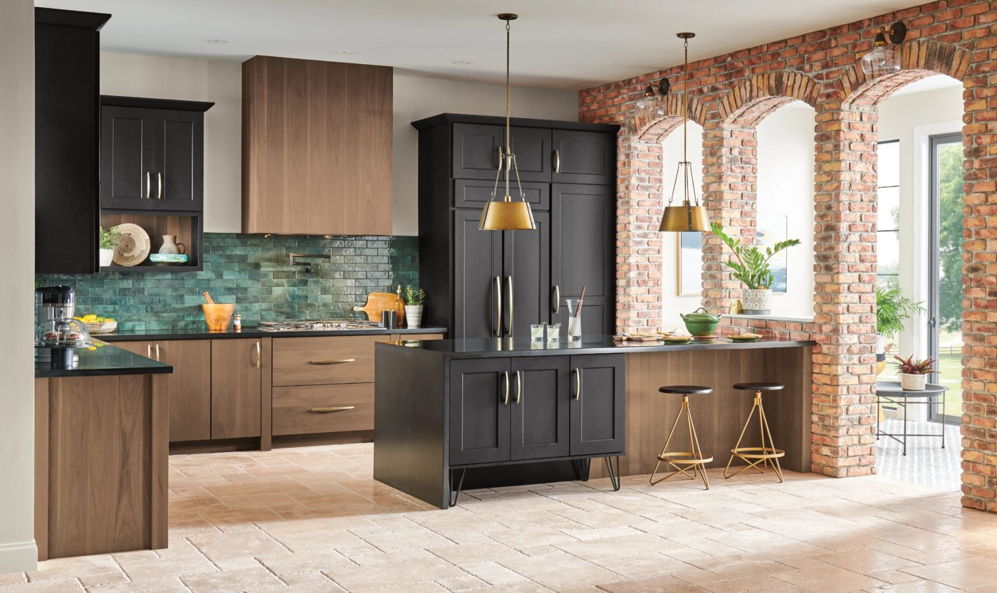 black paint and walnut kitchen design with open arches to the outdoor space