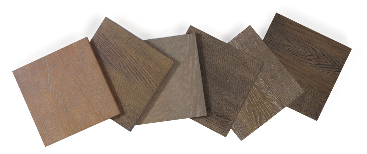 series of cerused, organic wood stains