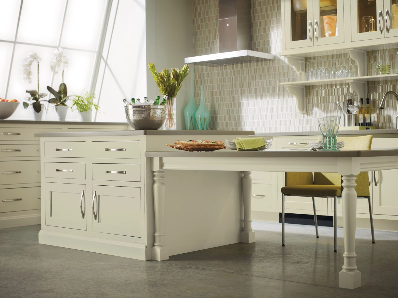 organic, pale green kitchen cabinetry with large picture window