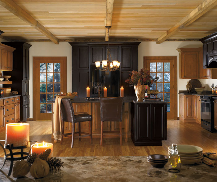 Alder cabinets in rustic kitchen by Diamond Cabinetry