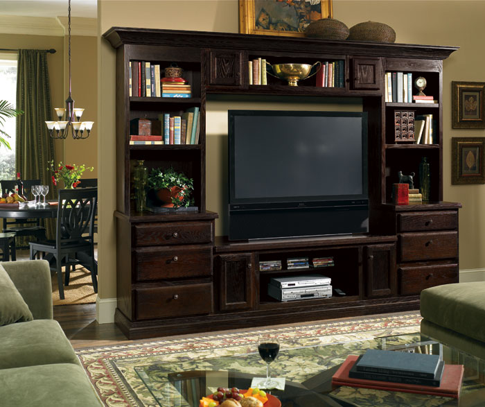 Living room cabinet in dark oak by Diamond Cabinetry
