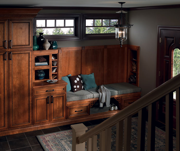 Rustic entry way cabinets by Diamond Cabinetry