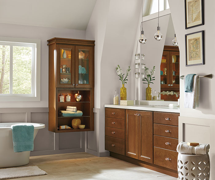 Casual Tennyson bathroom with Cherry cabinets in Terrain finish