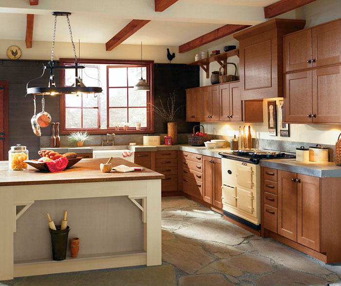 Rustic kitchen cabinets in rift oak by Kitchen Craft Cabinetry